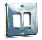 2-gang steel switch plate - engraved & filled black