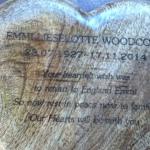 wooden heart memorial